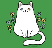 White Odd Eyed Cat with Flowers Baby Tee