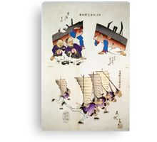 Humorous pictures showing damaged Chinese battleships receiving first aid and Chinese men running with sails  as from Chinese junks on their backs and carrying rifles 001 Canvas Print