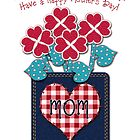 Happy Mother's Day! Gingham Checks, Denim Pocket by Cherie Balowski