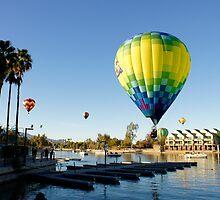 Hot Air Ballons Over The River by Tina Hailey