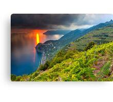 Sunset over Corniglia Canvas Print