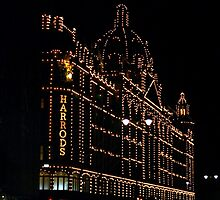Harrods at night by lydiahiggs
