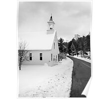 Winter Rural Chapel Vermont Poster