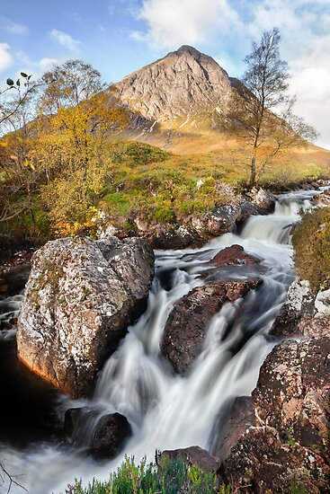 Etive Falls and the Buchaille Etive Mor by Ian Wray