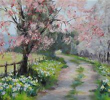 Original Acrylic Landscape Painting - Spring Walk by Karen Ilari