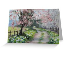 Original Acrylic Landscape Painting - Spring Walk Greeting Card