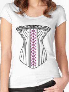 Sexy Corset T-Shirt Women's Fitted Scoop T-Shirt