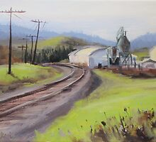 Original Plein Air Landscap Painting - Along the Tracks by Karen Ilari
