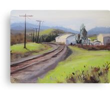 Original Plein Air Landscap Painting - Along the Tracks Canvas Print