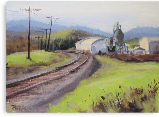 Original Plein Air Landscap Painting - Along the Tracks by Karen Ilari