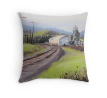 Original Plein Air Landscap Painting - Along the Tracks Throw Pillow