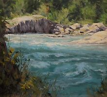 Original acrylic landscape painting - Shady River by Karen Ilari