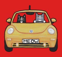 Cats in a Yellow Bug One Piece - Short Sleeve