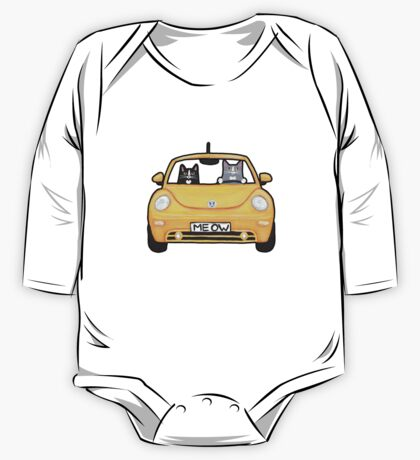 Cats in a Yellow Bug One Piece - Long Sleeve