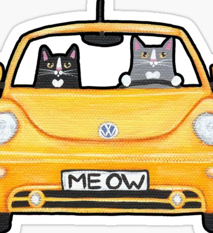 Cats in a Yellow Bug Sticker