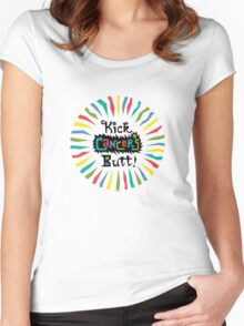 Kick Cancer's Butt  Women's Fitted Scoop T-Shirt