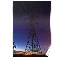 Power line and star trails Poster