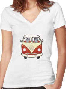 Two Cats in a Bus Road Trip Women's Fitted V-Neck T-Shirt