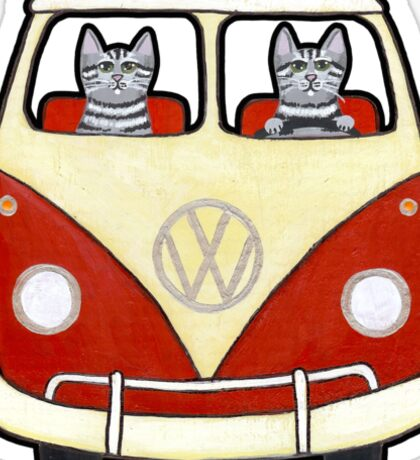 Two Cats in a Bus Road Trip Sticker