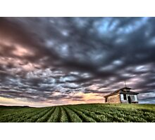 sunset and durum wheat crop storm clouds Photographic Print