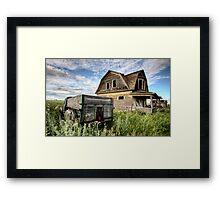 Vintage Farm Trucks Saskatchewan Canada weathered and old Framed Print