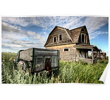 Vintage Farm Trucks Saskatchewan Canada weathered and old Poster