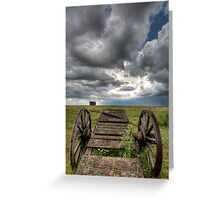Old Prairie Wheel Cart Saskatchewan Canada field Greeting Card