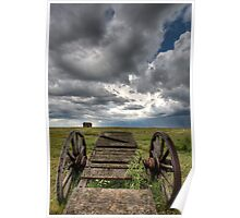 Old Prairie Wheel Cart Saskatchewan Canada field Poster
