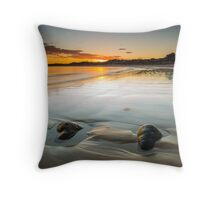 Wet Beach Sand Sunrise Throw Pillow