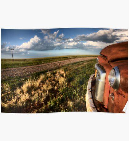 Vintage Farm Trucks Saskatchewan Canada weathered and old Poster