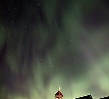 Night Church Northern Lights Saskatchewan Canada Aurora Borealis by pictureguy