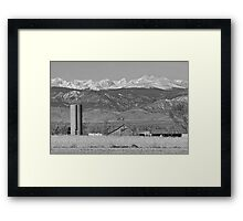 Rocky Mountain Country View Black And White Framed Print