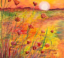 Sunset and Poppies by Nadine Rippelmeyer