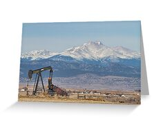 Oil Well Pumpjack And Snow Dusted Longs Peak Greeting Card