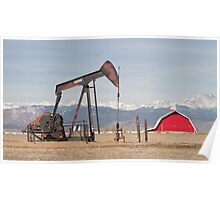 Rocky Mountains Oil Well And Red Barn Panorama Poster