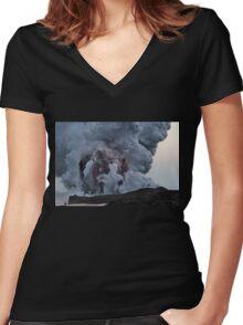 Kilauea Volcano at Kalapana 10 Women's Fitted V-Neck T-Shirt