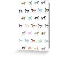 Colorful Horses Lantern Pattern  Greeting Card