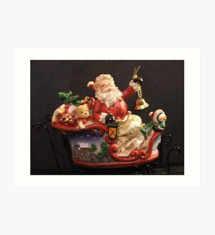 Santa on sleigh Art Print