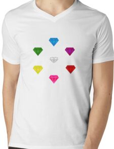 Sonic The Hedgehog Chaos Emeralds Mens V-Neck T-Shirt