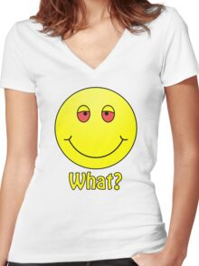 Smiley What? Women's Fitted V-Neck T-Shirt