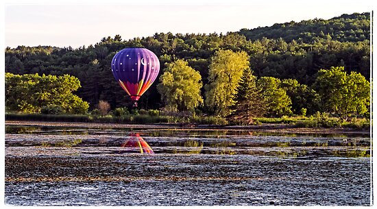 Hot Air Balloon over Pond by Edward Fielding