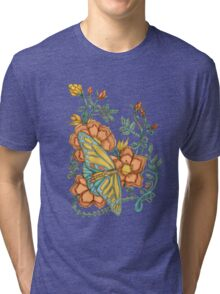 Spring Butterflies Roses and Vines Tri-blend T-Shirt