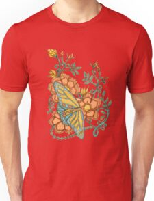 Spring Butterflies Roses and Vines Unisex T-Shirt