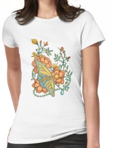Spring Butterflies Roses and Vines Womens Fitted T-Shirt