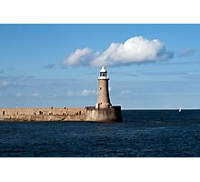 Tynemouth Lighthouse on the end of Tynemouth Pier, on the north east coast of England Photographic Print