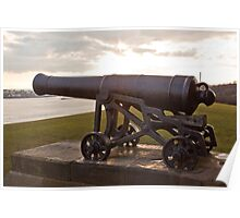 cannon on the walls of Collingwoods Monument at Tynemouth Poster