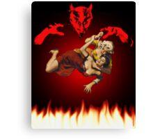lucha de gato del diablo Canvas Print