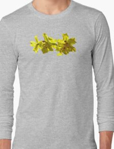 Backlit Yellow Orchids Long Sleeve T-Shirt