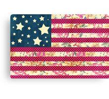Shabby Chic American Flag Canvas Print