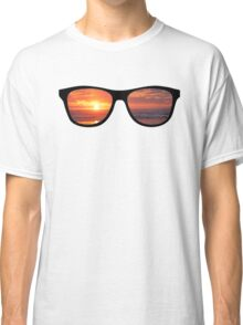 Hipster Beach Sunset Scene Classic T-Shirt